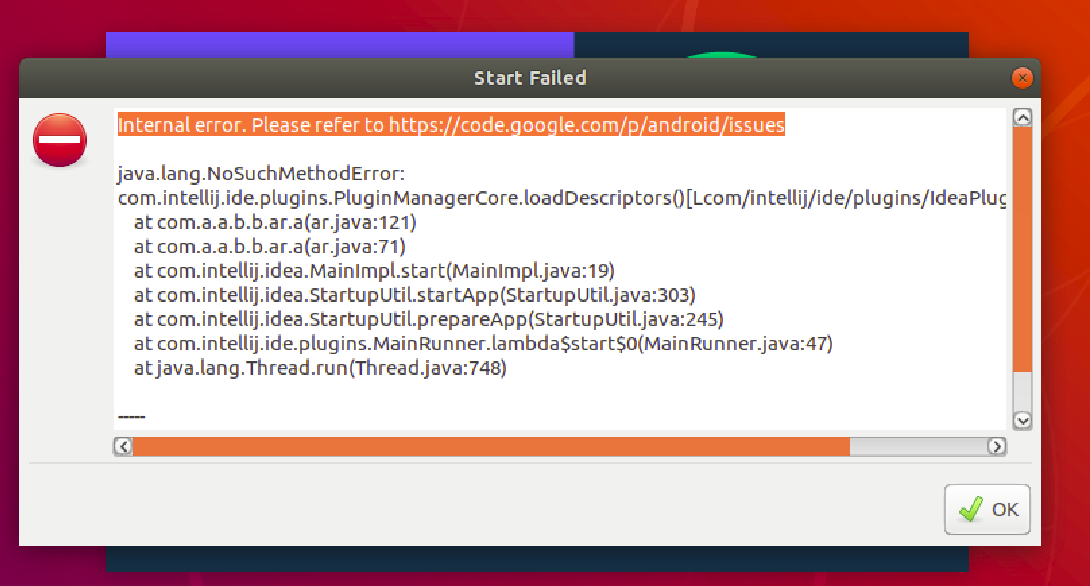 How to fix the Start Failed of Android Studio in Ubuntu?